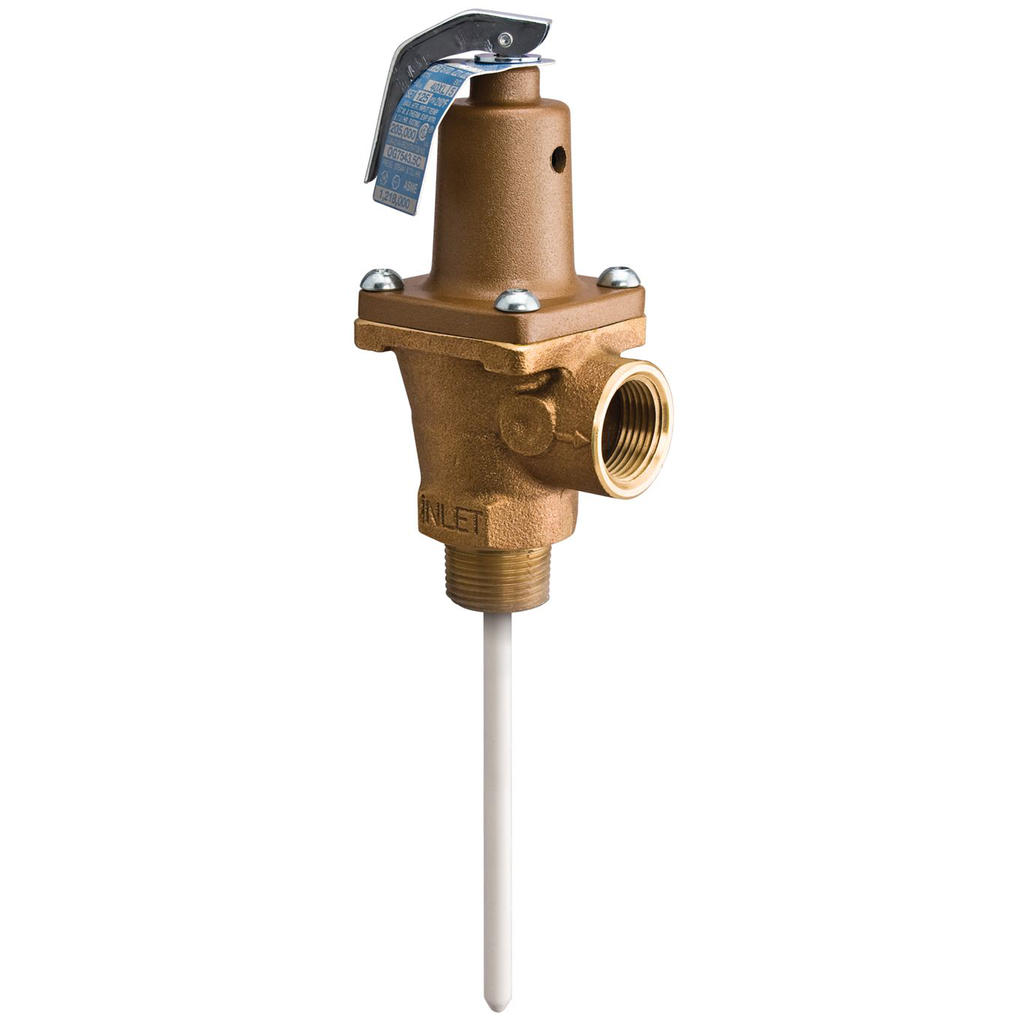 1 IN Lead Free Brass Automatic Reseating T and P Relief Valve, 125 psi, 210 degree F, Test Lever, 5 IN Extension Thermostat