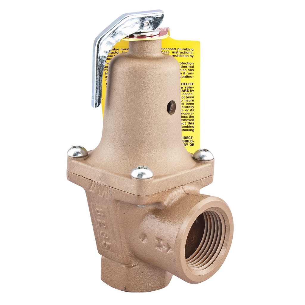 1 1/2 In Iron Boiler Pressure Relief Valve, 70 psi, Expanded Outlets