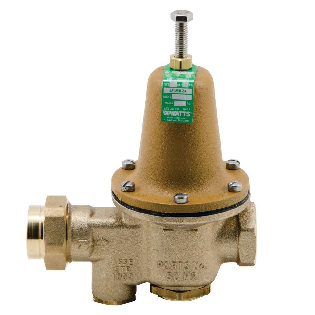 1 In Lead Free Water Pressure Reducing Valve, Npt Female Union X Npt Female, Low Range 10-35 psi