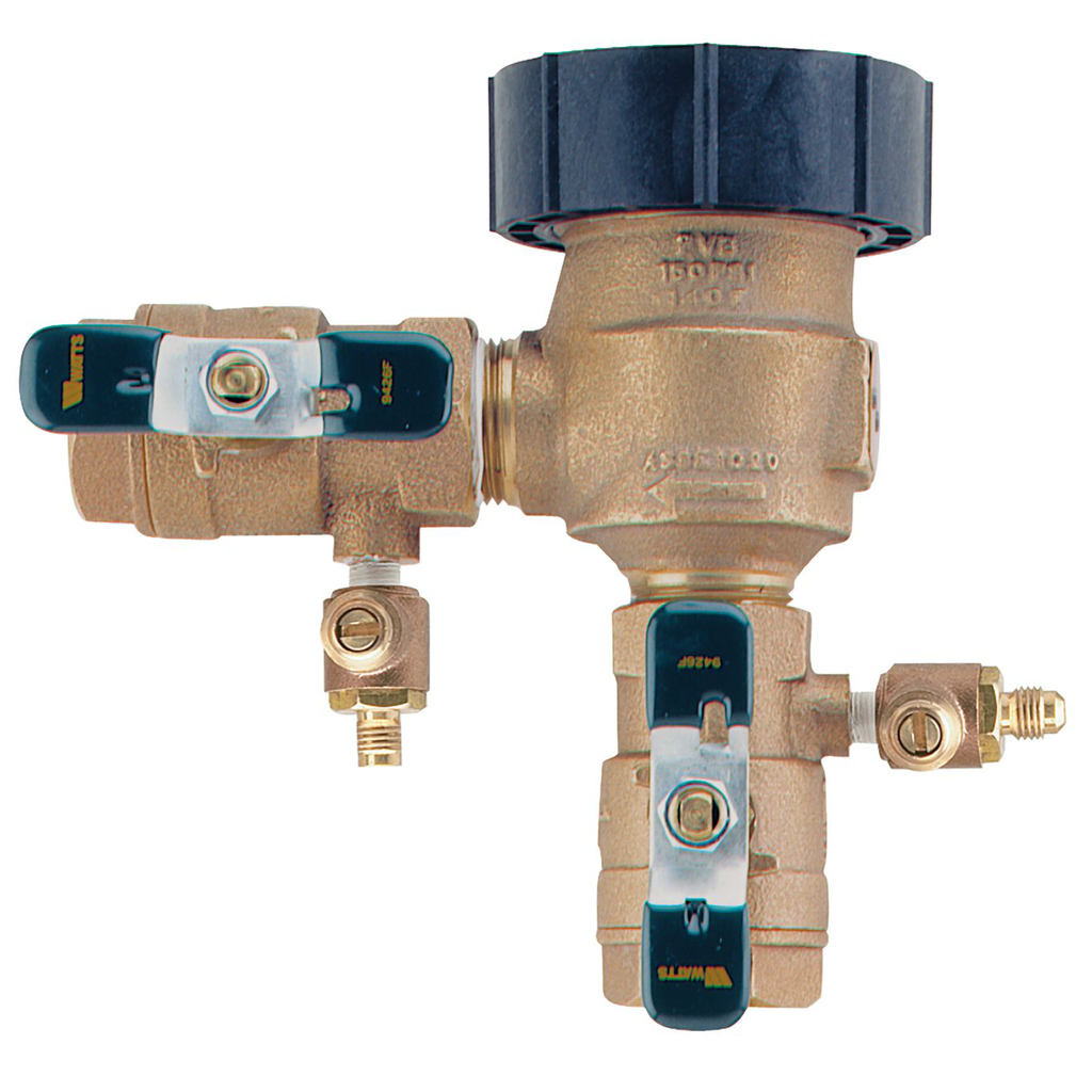 1 1/2 In Bronze Anti-Siphon Pressure Vacuum Breaker Backflow Preventer, Quarter Turn Shutoff, Lever Handles