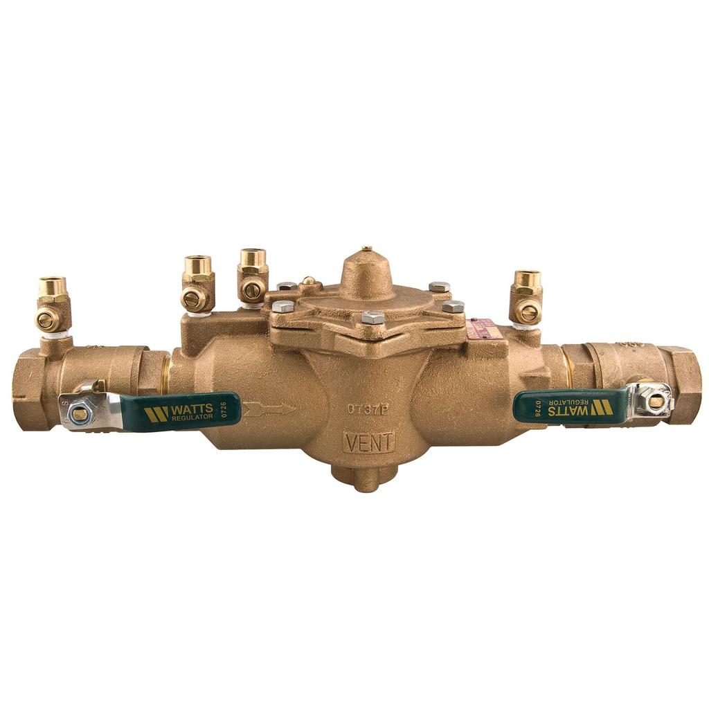 1 1/4 In Bronze Reduced Pressure Zone Assembly Backflow Preventer, Quarter Turn Shutoff Valves, Lever Handles