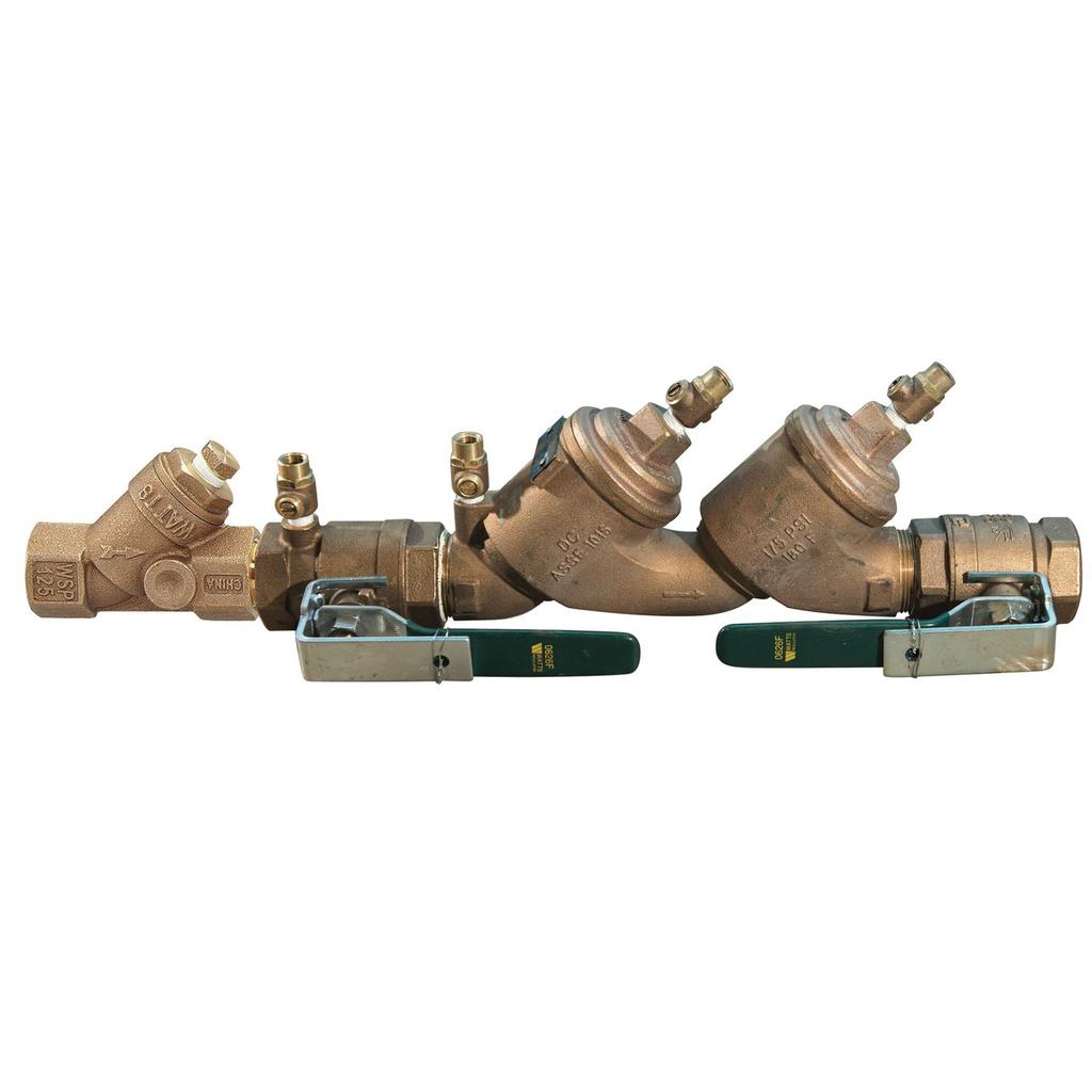 1 1/4 In Lead Free Double Check Valve Backflow Preventer Assembly, Quarter Turn Ball Valve, Bronze Strainer