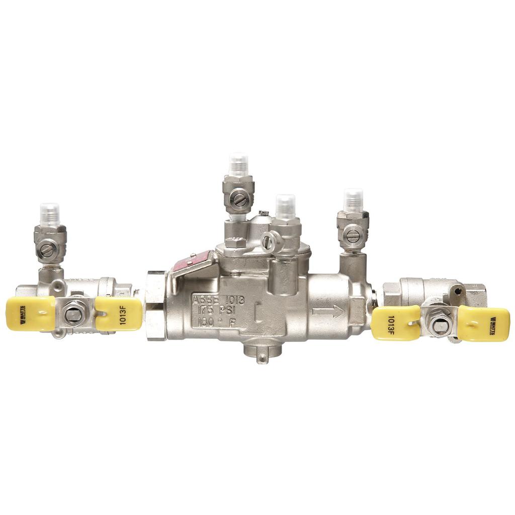 1 In Stainless Steel Reduced Pressure Zone Backflow Preventer Assembly, Quarter Turn Shutoff Valves