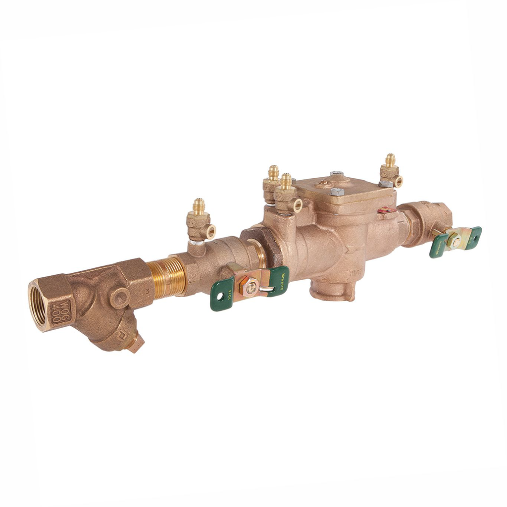 1 In Bronze Reduced Pressure Zone Assembly Backflow Preventer, Quarter Turn Shutoff Valves, Tee Handles, Bronze Strainer