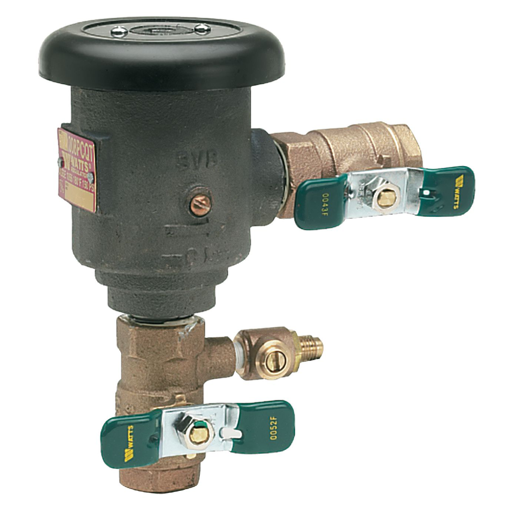 1 In Lead Free Spill-Resistant Anti-Siphon Vacuum Breaker Backflow Preventer, Quarter Turn Shutoff, Polymer Coating