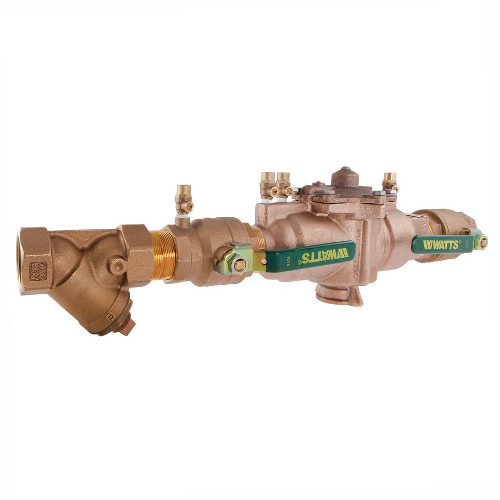 1 1/2 In Lead Free Reduced Pressure Zone Backflow Preventer Assembly, Quarter Turn Shutoff Valves, Bronze Strainer