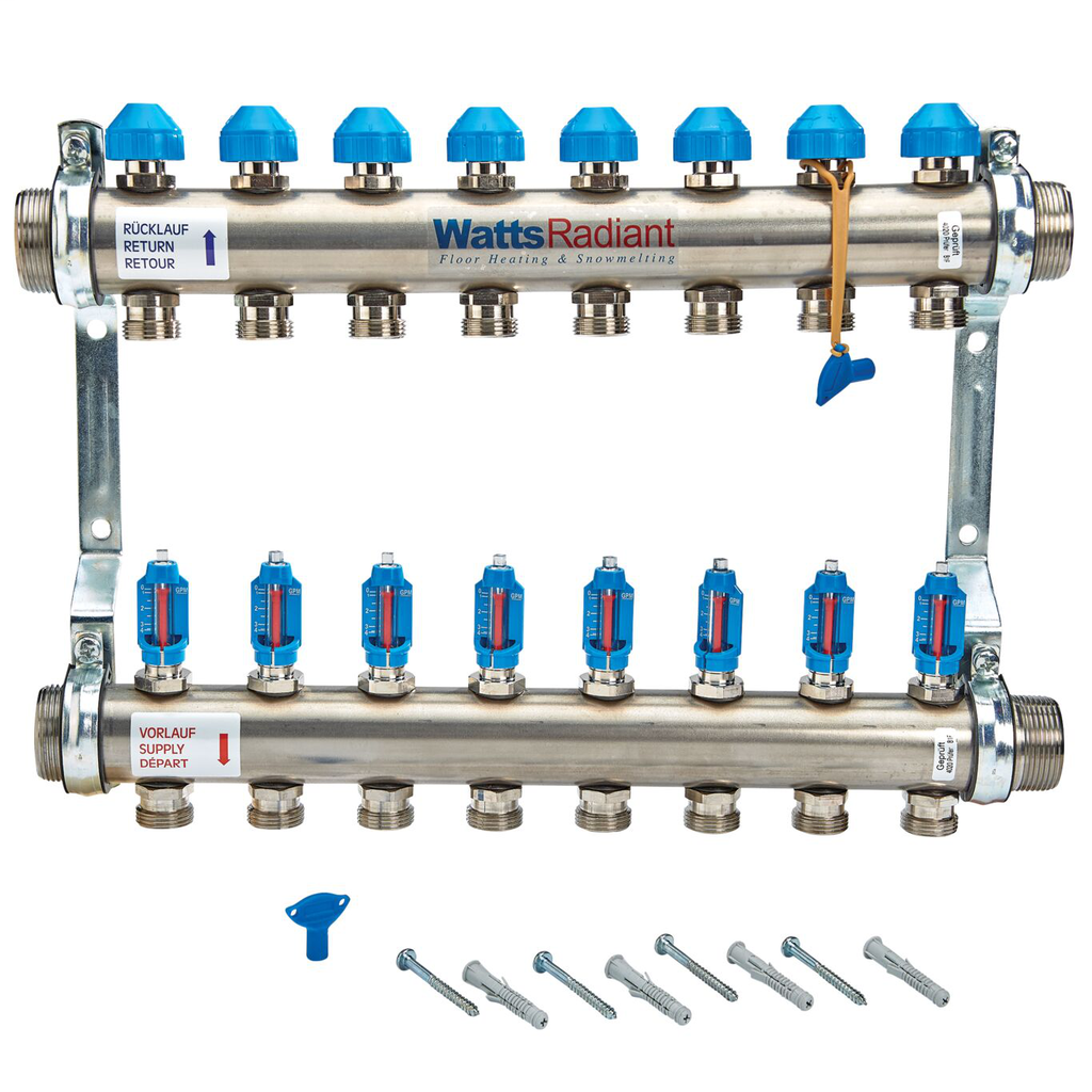 1 1/2 In Stainless Steel Manifold, 8 Circuits