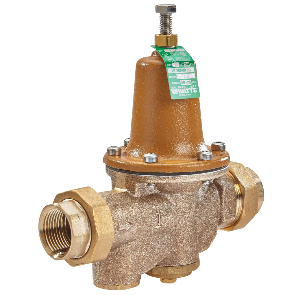 1 In Lead Free Water Pressure Reducing Valve, Double Union, Npt Female, Polymer Seat, Gauge Tapping, Adjustable 25-75 psi