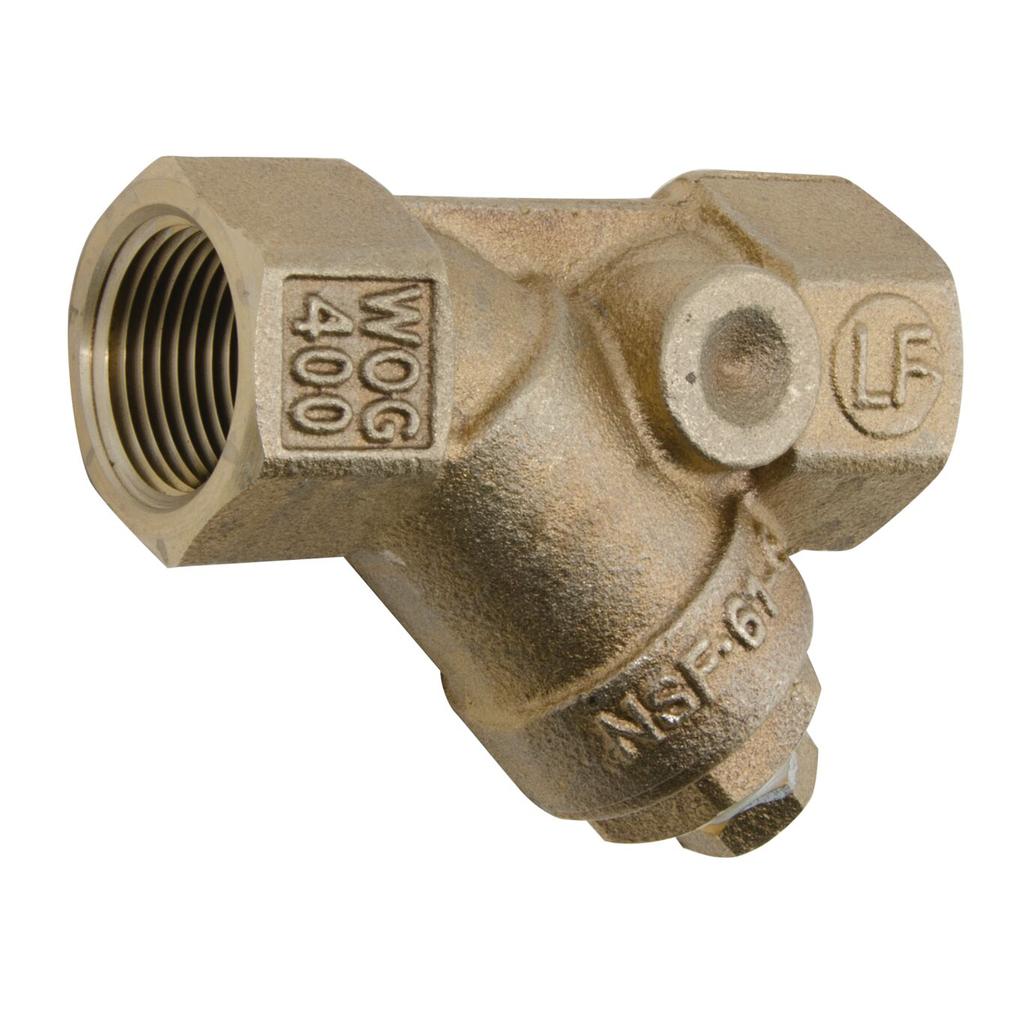 1 1/2 In Bronze Wye Pattern Strainer, Thread, 20 Mesh Screen, Tapped Retainer Cap, Closure Plug