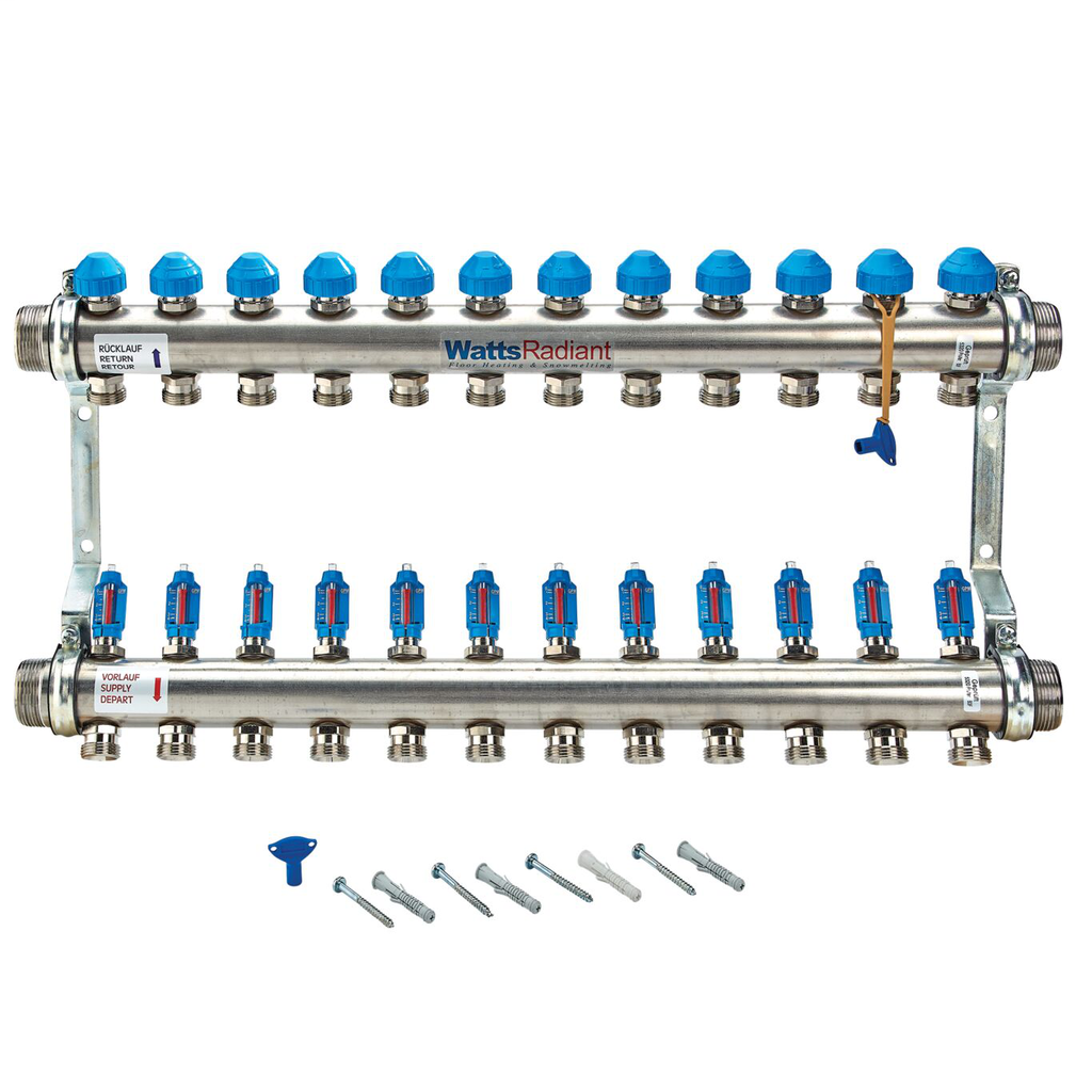 1 1/2 In Stainless Steel Manifold, 12 Circuits