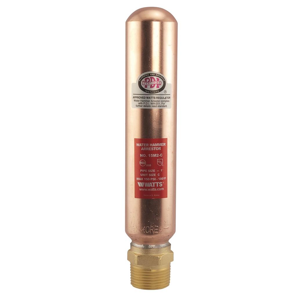 1 In Lead Free Water Hammer Arrestor, Npt Brass Hex Adapter, Unit Size C