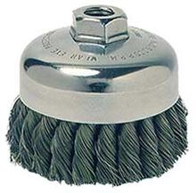 "WEI 12736 3-1/2"" Single Row Knot Wire Cup Brush .014"" Steel Fill 5/8""-11 UNC Nut"