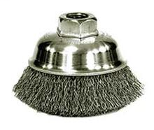 """WEILER 13181 3-1/2"""" Crimped Wire Cup Brush .014"""" Steel Fill 5/8""""-11 UNC Nut"""