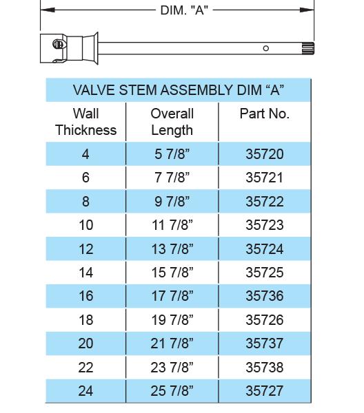"""35722 8"""" VALVE STEM ASSY W/CHECK VALVE 35722"""