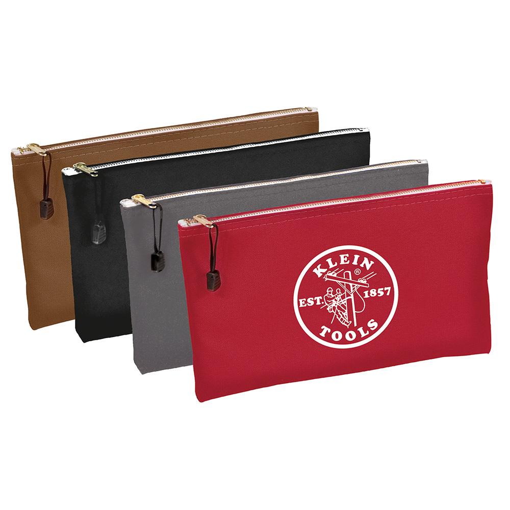 Klein 5141 12-1/2 x 7 Inch Brown/Black/Gray/Red Canvas 4-Pocket Zipper Tool Bag