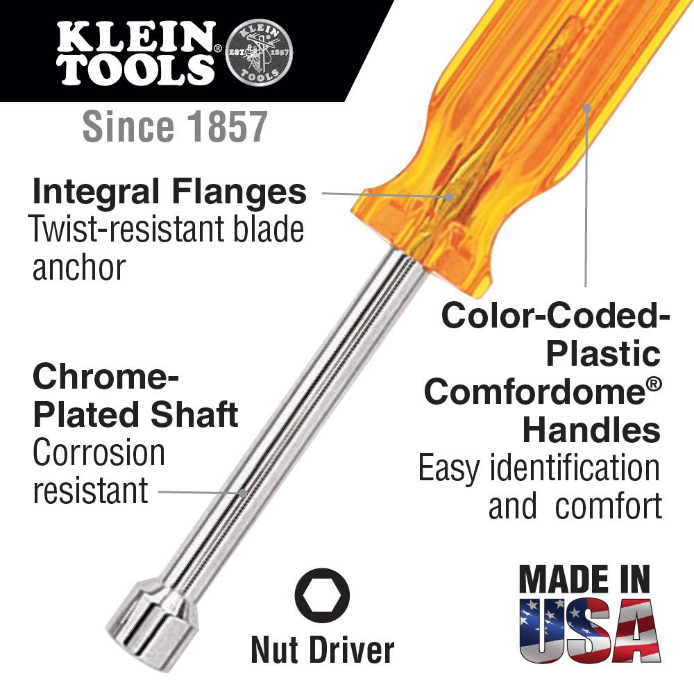 """KLEIN S66 3/16"""" Indiv. Nut Driver 6"""