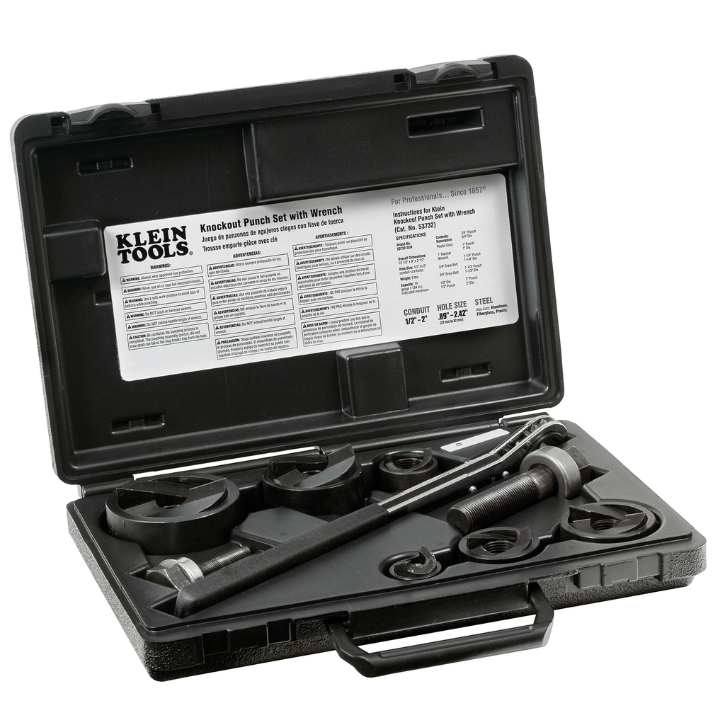Klein Tools 53732SEN 9-Piece Knockout Punch Set with Wrench