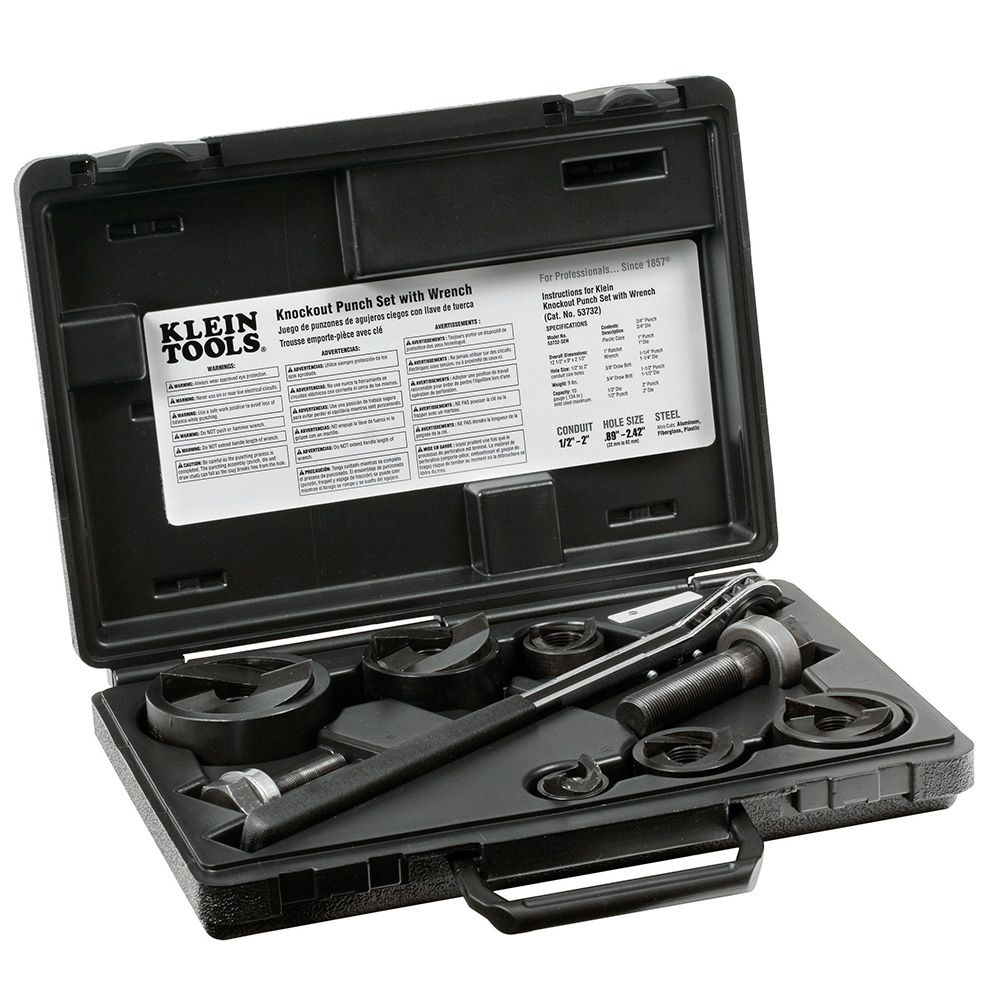 Klein 53732SEN Knock Out Punch Set with Wrench