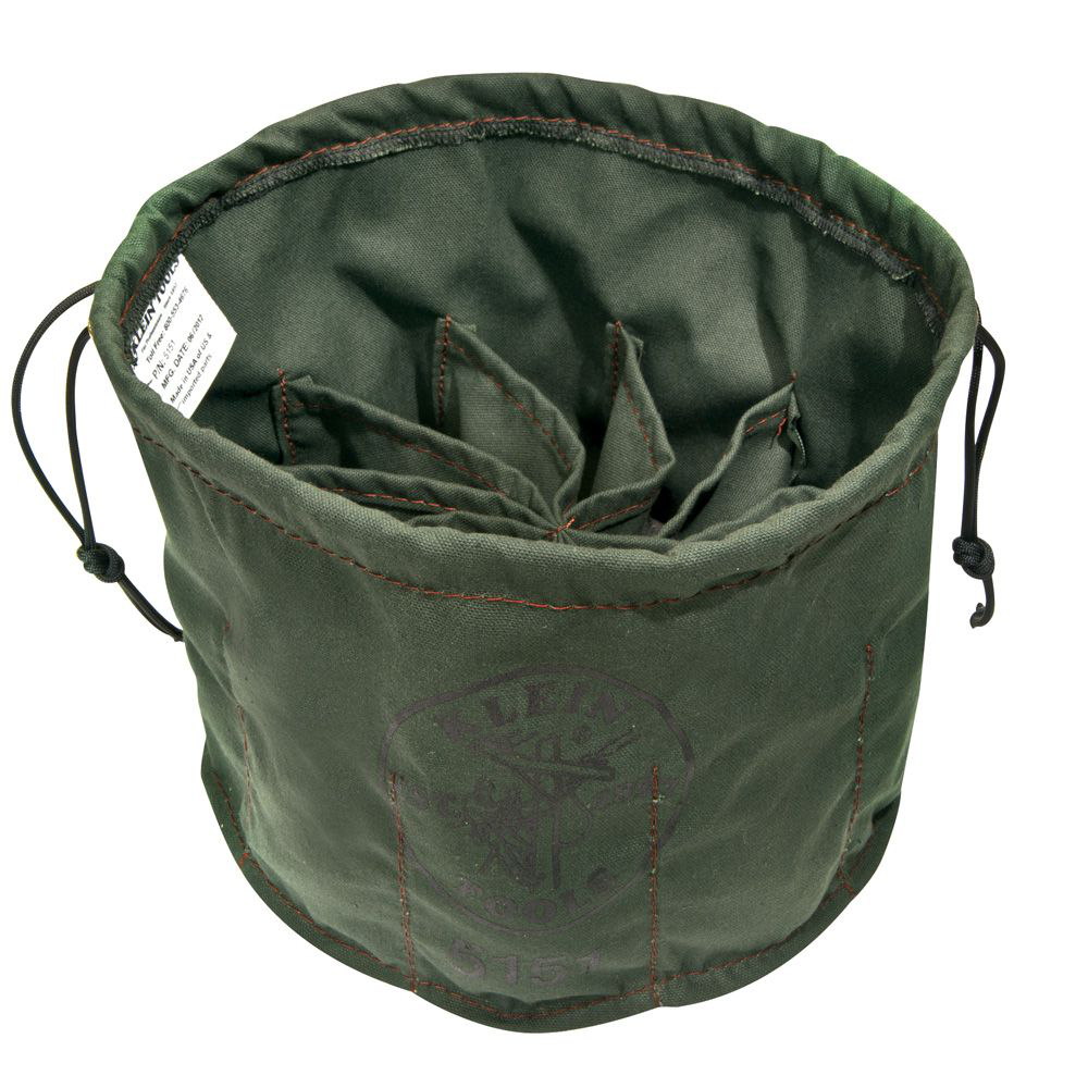 Klein Tools 5151 6 x 11 Inch Canvas 10-Compartment Drawstring Bag