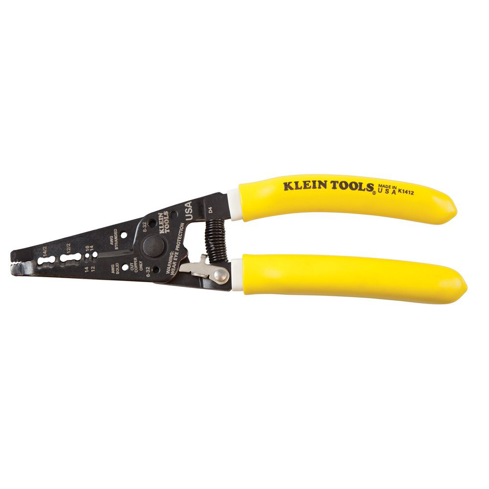 Klein Tools K1412 7-3/4 Inch 12 and 14 AWG Yellow/White Handle NM-B Dual Cable Stripper/Cutter