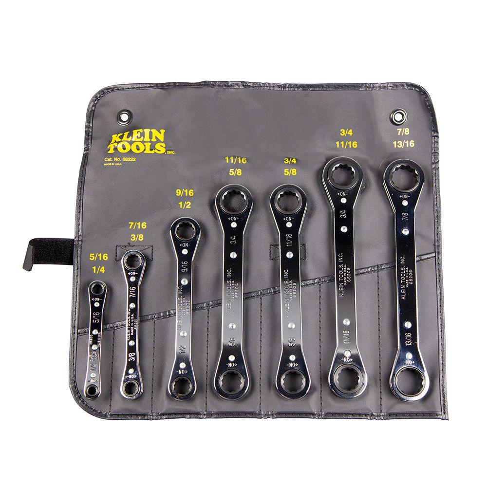 Klein 68222 7pc Ratcheting Box Wrench Set