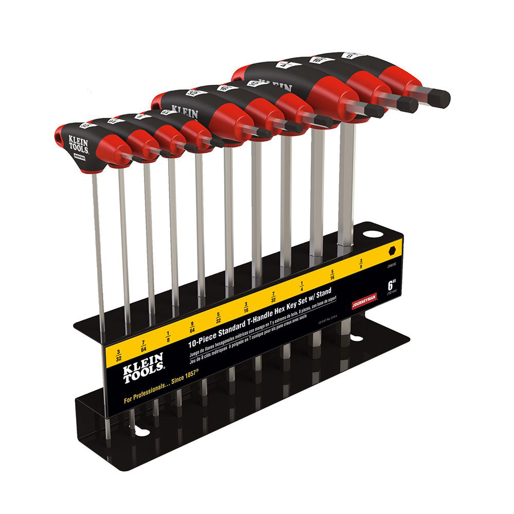 Klein Tools JTH610E 10-Piece 6 Inch SAE Journeyman T Handle Set with Stand