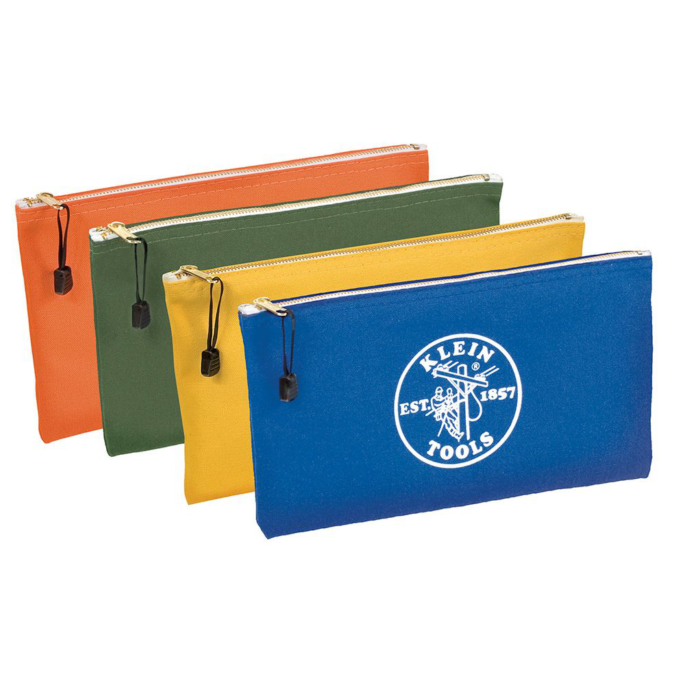 Klein Tools 5140 12-1/2 x 7 Inch Olive/Orange/Royal Blue/Yellow Canvas 4-Pocket Zipper Tool Bag