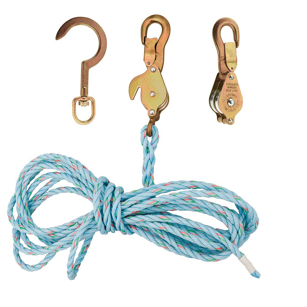 Klein Tools 1802-30SSR 25 Foot 750 lb Block and Tackle with Anchor Hook