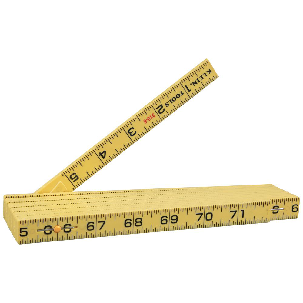 Klein 910-6 6 Inch Black/Yellow/Red Inside Reading Non-Conductive Fiberglass Folding Rule