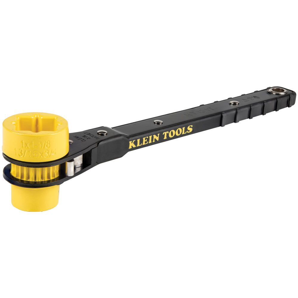 Klein Tools KT151T 13 Inch Bright Yellow Socket Ratcheting Lineman Wrench