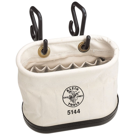 Mayer-Canvas Bucket, 15-Pocket Aerial Oval Bucket with Hooks-1