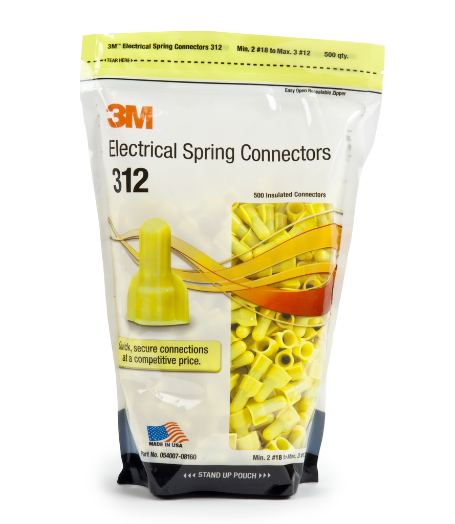 3M 312-BAG 500/Bag Yellow Spring Connector