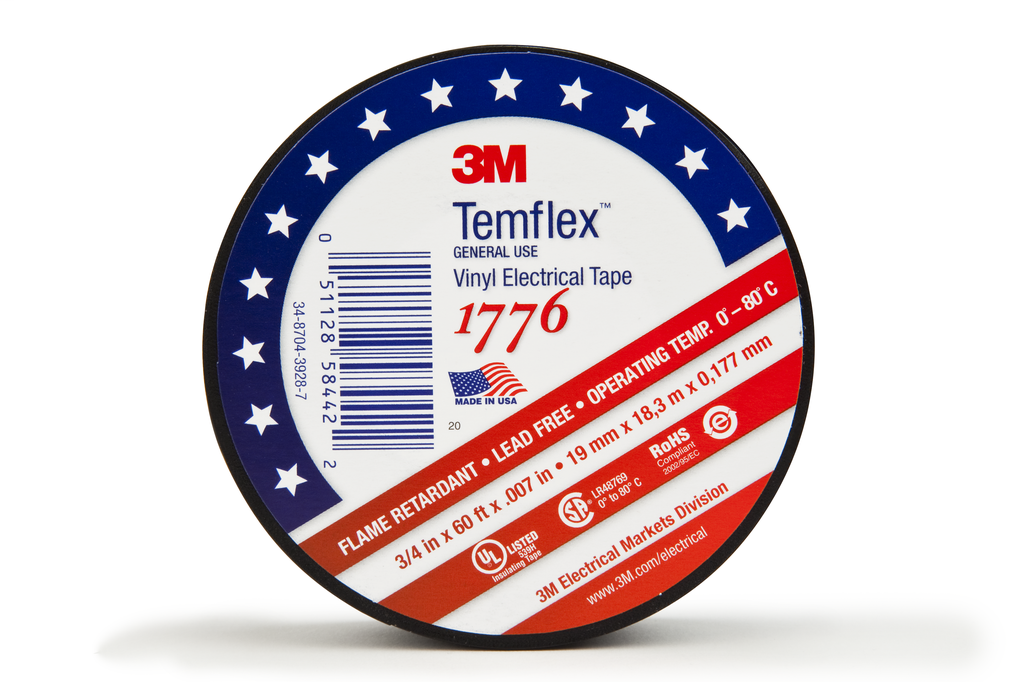 """3M Industrial Safety 1776-3/4""""x60FT Black Vinyl Electrical Tape"""