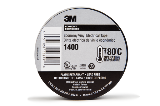 Mayer-3M™ Economy Vinyl Electrical Tape 1400, 3/4 in x 60 ft, 1-1/2 in Core, Black, 10 rolls/carton, 100 rolls/Case-1