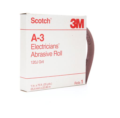 Scotch® Electrician's Abrasive Roll A-3, 1 in x 25 yd, 120 J-weight, 10 rolls per case