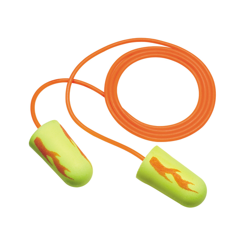 3M™ E-A-Rsoft™ Yellow Neon Blasts™ Earplugs 311-1252, Corded, Poly Bag, Regular Size, 2000 Pair/Case