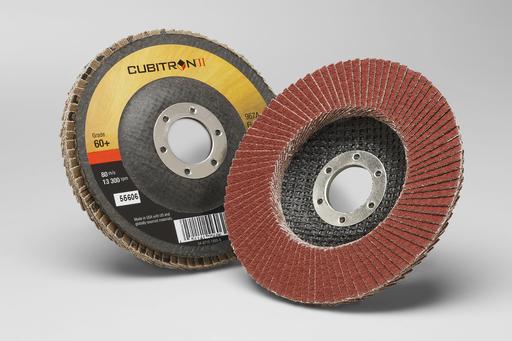 3M™ Cubitron™ II Flap Disc 967A, T27, 4-1/2 in x 7/8 in, 60+ Y-weight, 10 per case