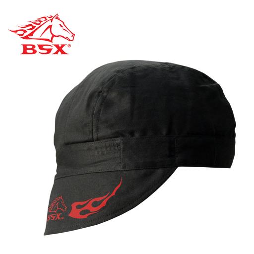 BSX BLACK - RED FLAME LOGO ARMORCAP WELDING CAP, N/A
