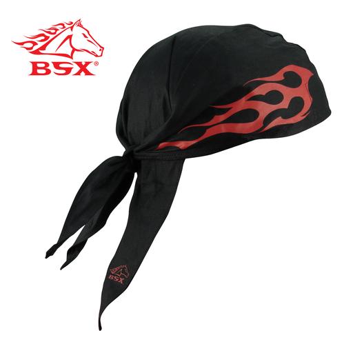 BSX BLACK - RED FLAME & LOGO FIRERAG FR DOO RAG, N/A