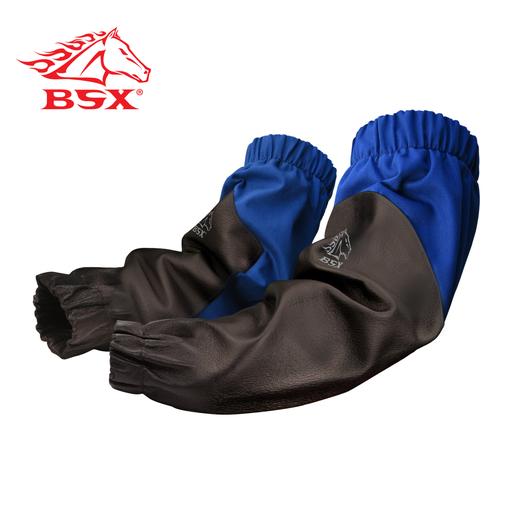 "BSX® ROYAL BLUE FR/BLACK REINFORCED GRAIN PIGSKIN SLEEVES, 19"""