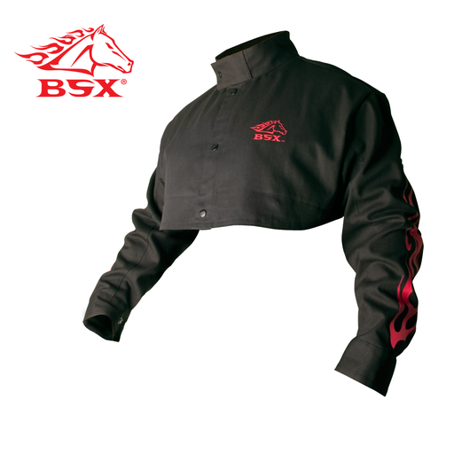 BSX BLACK FR WELDING CAPE SLEEVE WITH RED FLAMES, LARGE