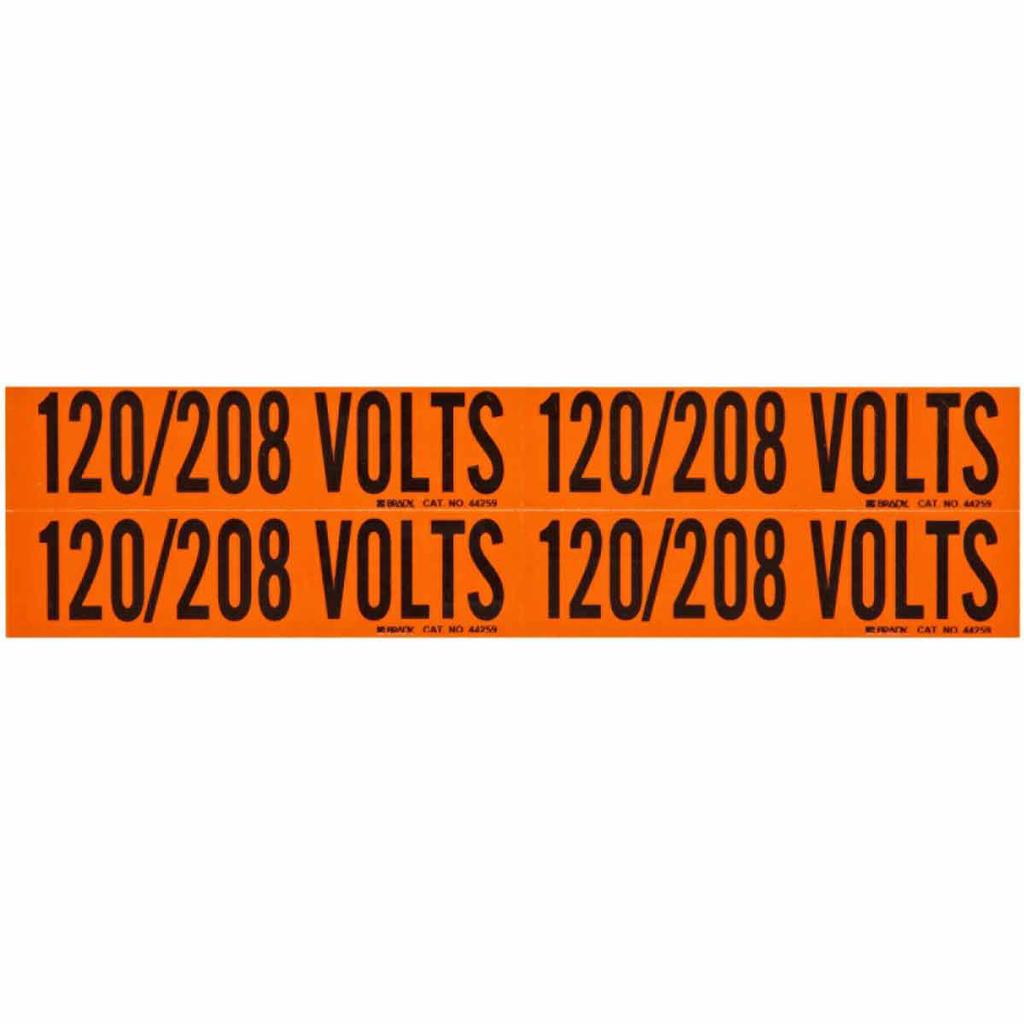 Brady 44259 4-1/8 x 1-1/8 Inch Black/Orange Vinyl Conduit and Voltage Marker