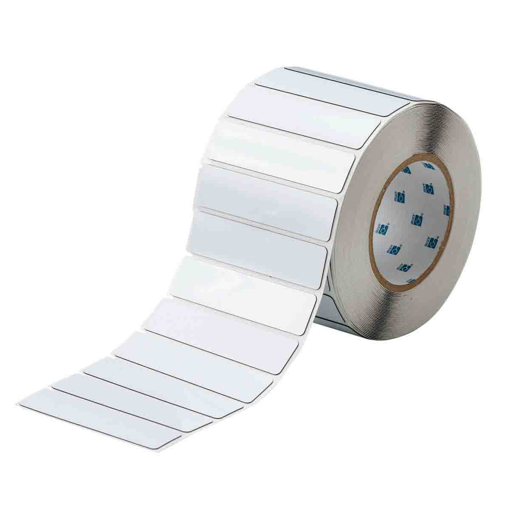"""Mayer-Foam Backed Raised Panel Labels, 1"""" H x 4"""" W, White, Roll of 500 Labels-1"""