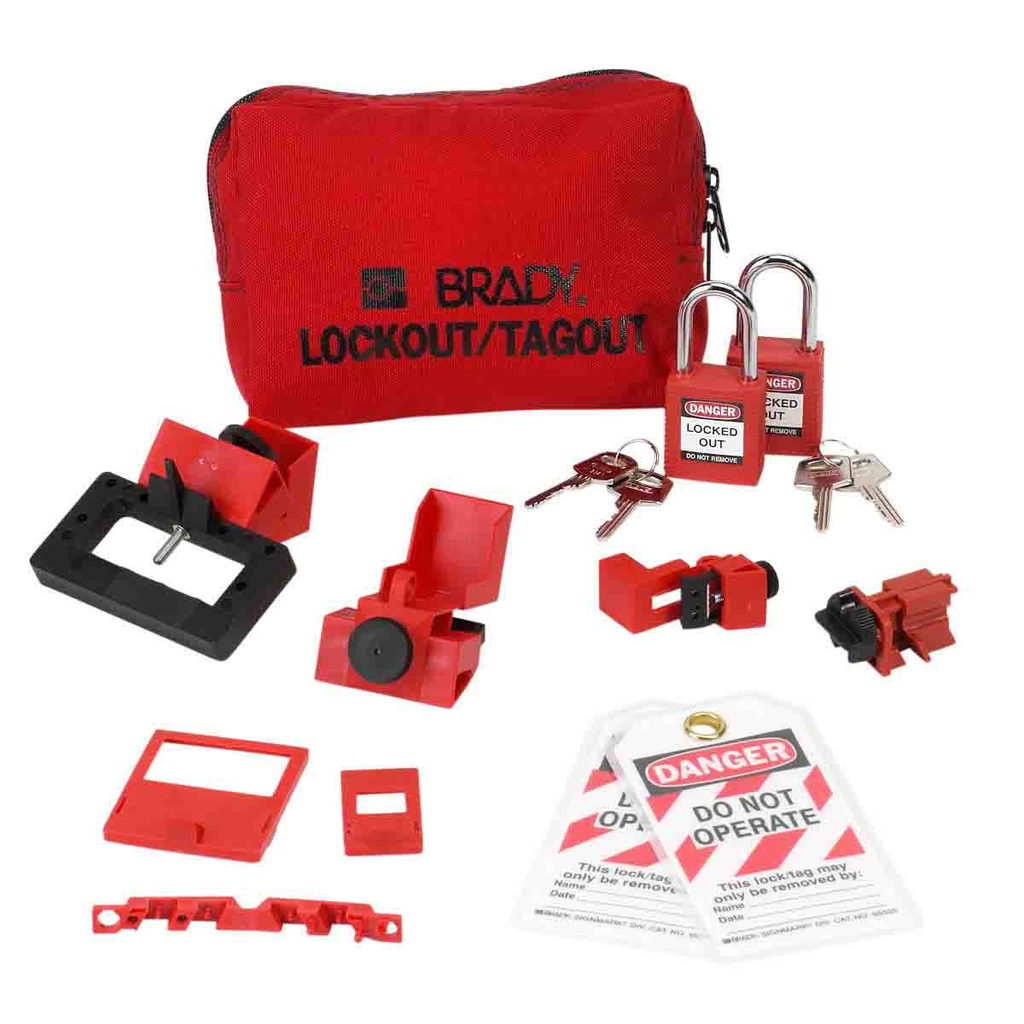 Brady 99296 Lockout Breaker Kit Sampler Pouch with 2 Safety Locks and Tags