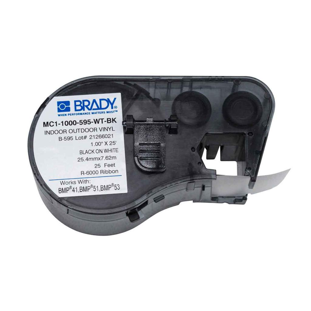 """BRADY MC1-1000-595-WT-BK MseriesB595 Blk/Wht 1.0""""X25' 1Ea 1""""Cart"""