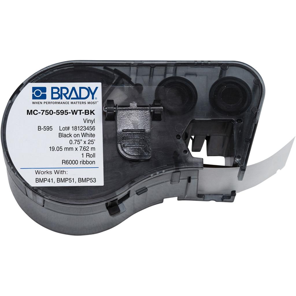 """BRADY MC-750-595-WT-BK Mseries B595Blk/Wht 0.75""""X25' 1 Rll Hf"""