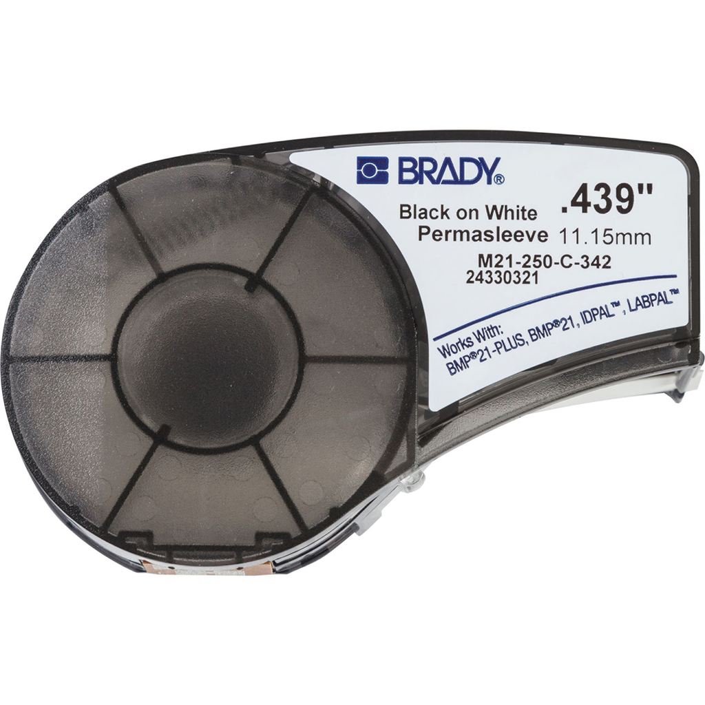 Brady M21-250-C-342 0.439 Inch x 7 Foot Polyolefin Shrink White Sleeve Roll Wire Marker