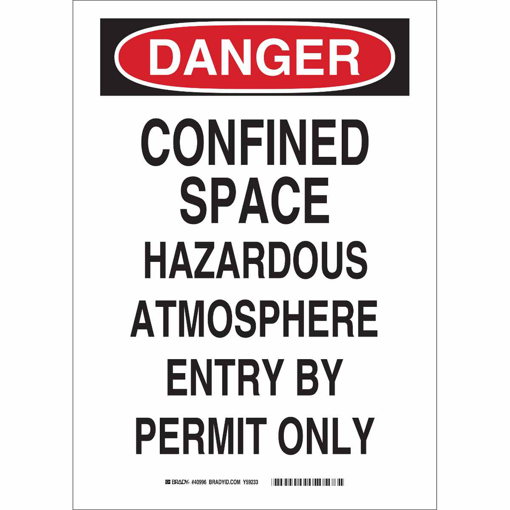 BRADY 84570 CONFINED SPACE SIGN