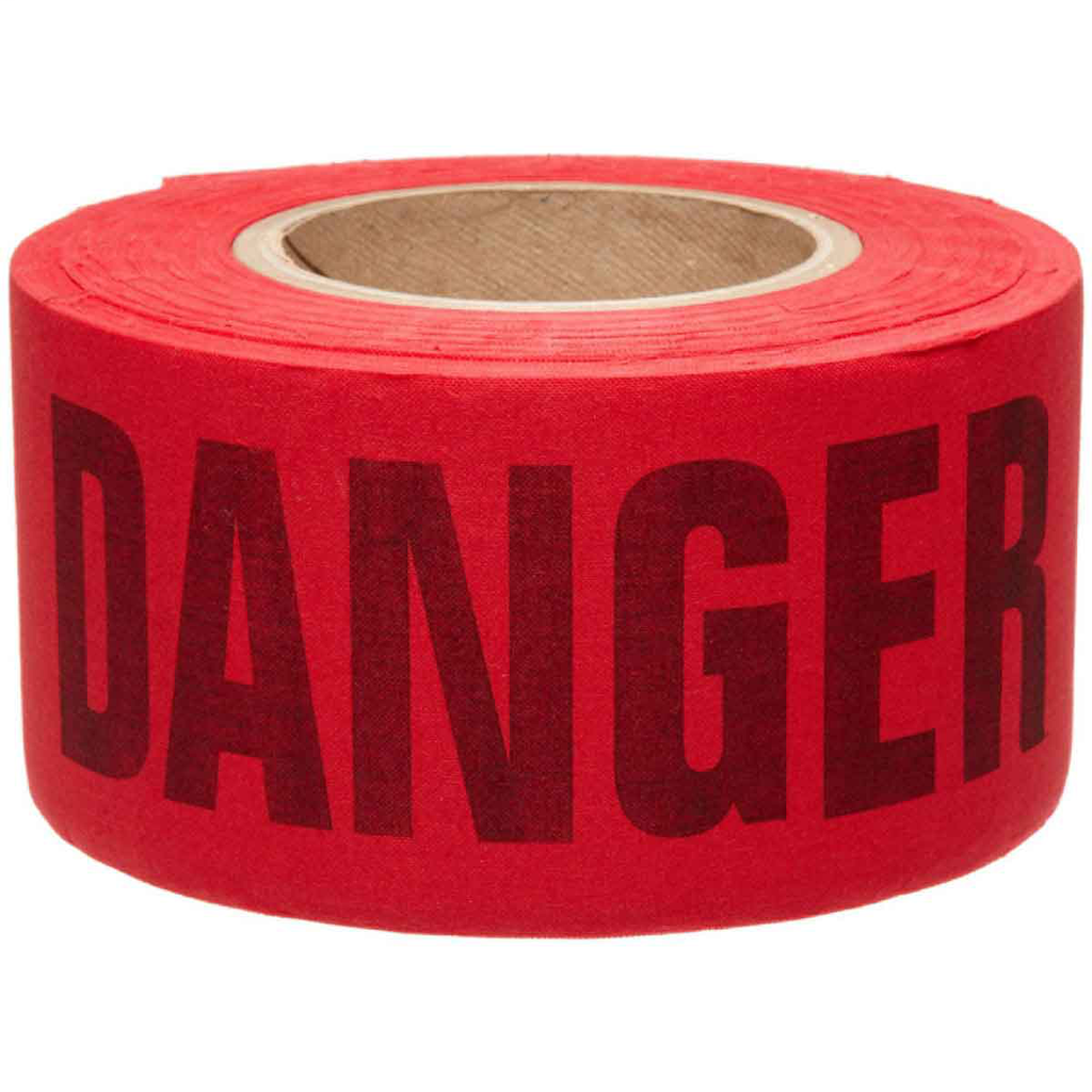 Brady 91084 3 Inch x 50 Yard Black/Red Woven/Biodegradable Cotton Re-Pulpable Barricade Tape