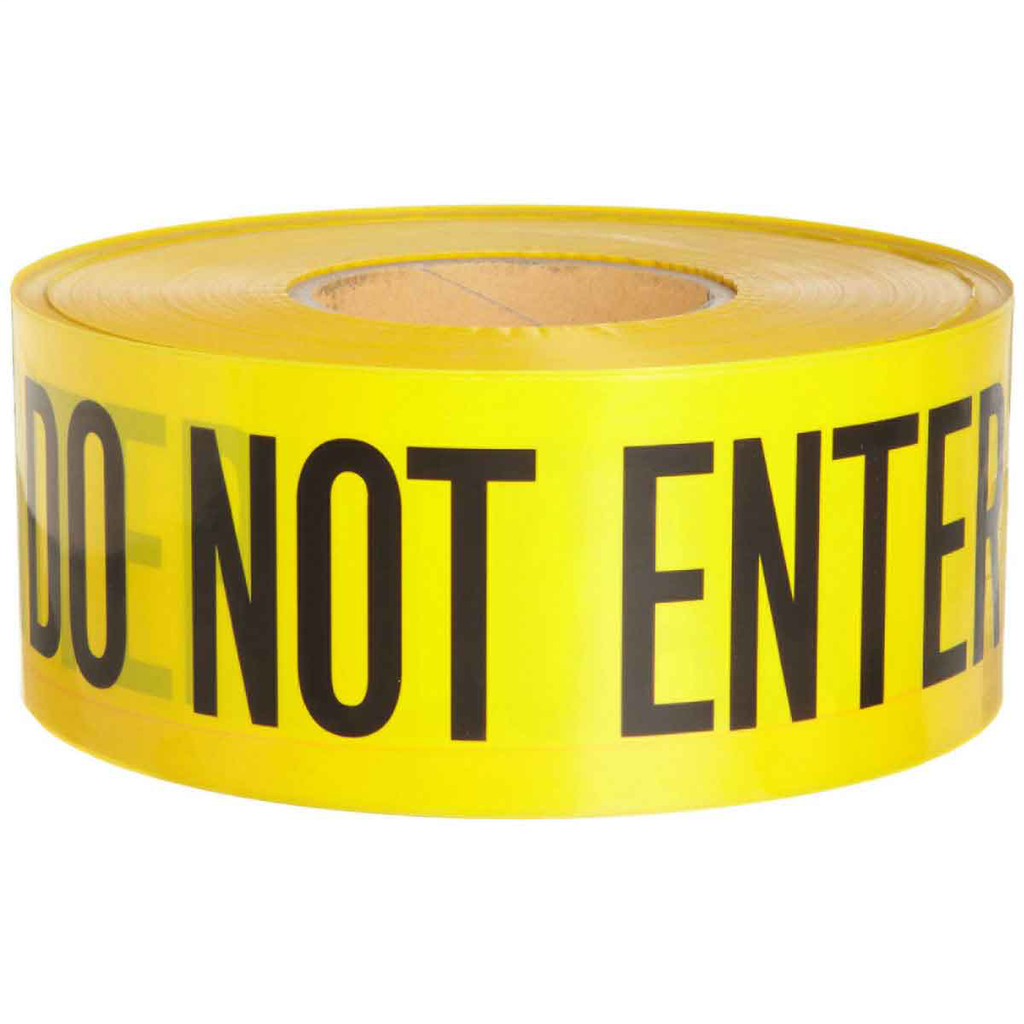 "Brady 91451 3"" x 1000ft Barricade Tape, ""CAUTION DO NOT ENTER"", Black on Yellow"